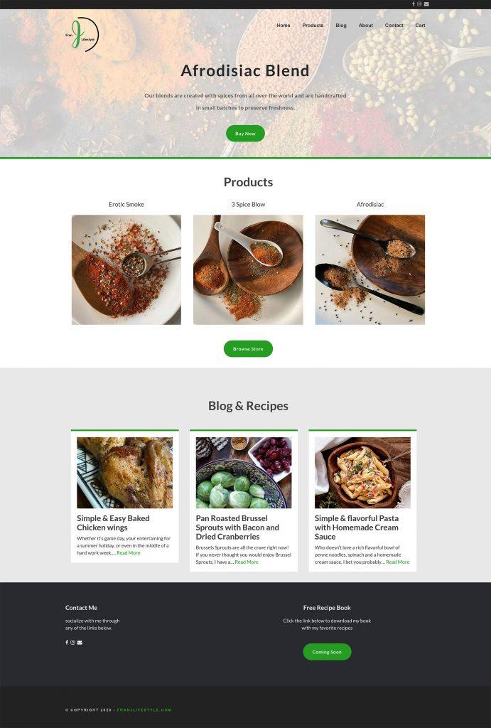Spice Blends website design