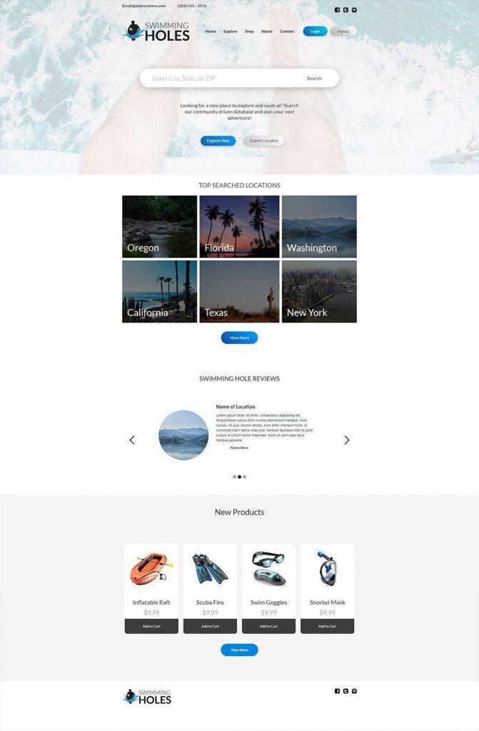 swimming hole finder website design